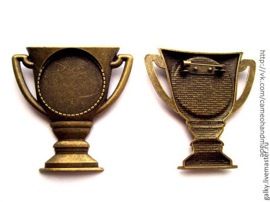 Для украшений ручной работы. Ярмарка Мастеров - ручная работа. Купить Основа для броши Кубок античная бронза. Handmade.