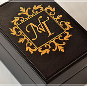 """Для дома и интерьера ручной работы. Ярмарка Мастеров - ручная работа Шкатулка для часов """"Монограмма NT"""". Handmade."""