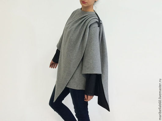 Верхняя одежда ручной работы. Ярмарка Мастеров - ручная работа. Купить HUGME асимметричное шерстяное пальто. Handmade. Серый, кашемир