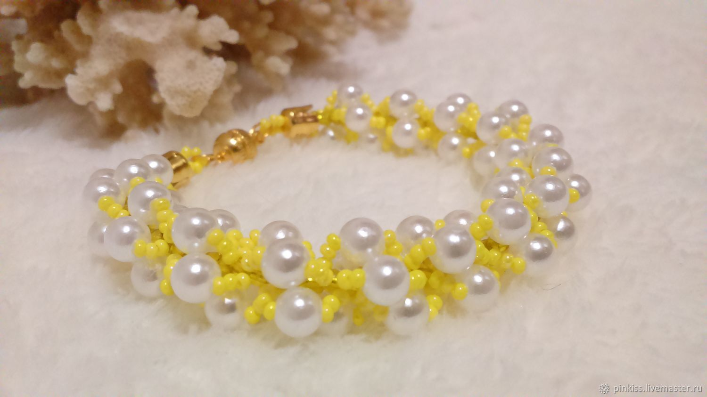 Solar pearl beaded bracelet yellow 095, Bead bracelet, Podolsk,  Фото №1