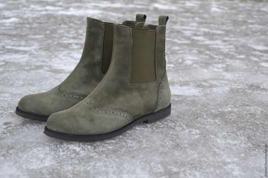 Обувь ручной работы. Ярмарка Мастеров - ручная работа. Купить Челси  зеленого цвета. Handmade. Зеленый, натуральная кожа