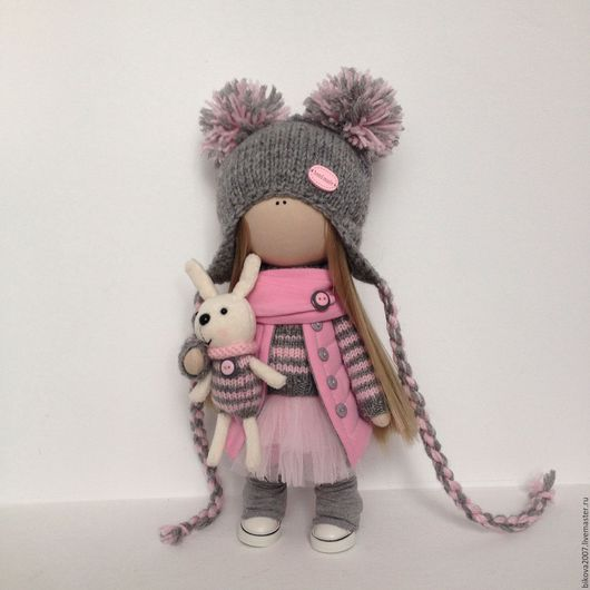 Куклы тыквоголовки ручной работы. Ярмарка Мастеров - ручная работа. Купить Интерьерная куколка. Handmade. Розовый, кукла текстильная, пряжа