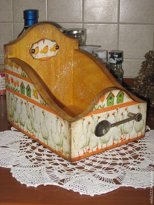 """Кухня ручной работы. Ярмарка Мастеров - ручная работа. Купить """"Птичий двор"""" короб. Handmade. Оранжевый, гуси, винтажный стиль"""