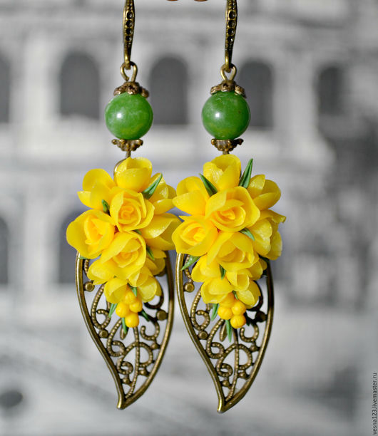 """Серьги ручной работы. Ярмарка Мастеров - ручная работа. Купить Серьги, брошь """"Желтые крокусы"""". Handmade. Желтый, серьги с цветами"""