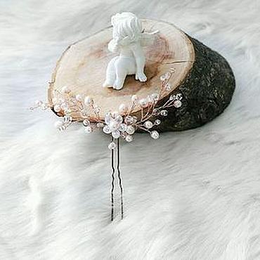 Украшения ручной работы. Ярмарка Мастеров - ручная работа Шпилька айвори жемчуг. Handmade.