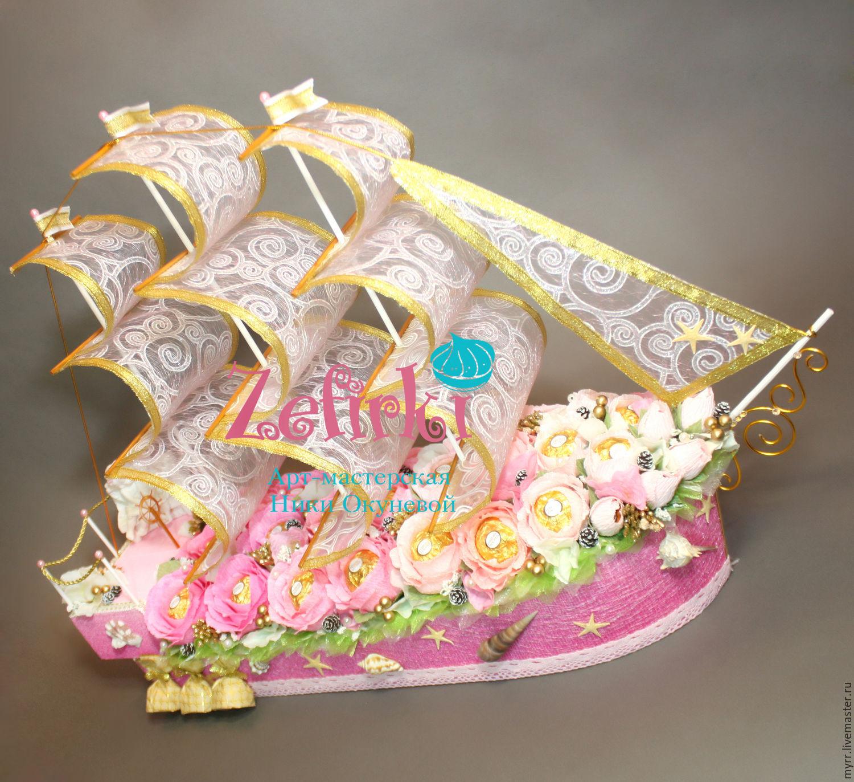 Корабль свадебный из конфет своими руками 35