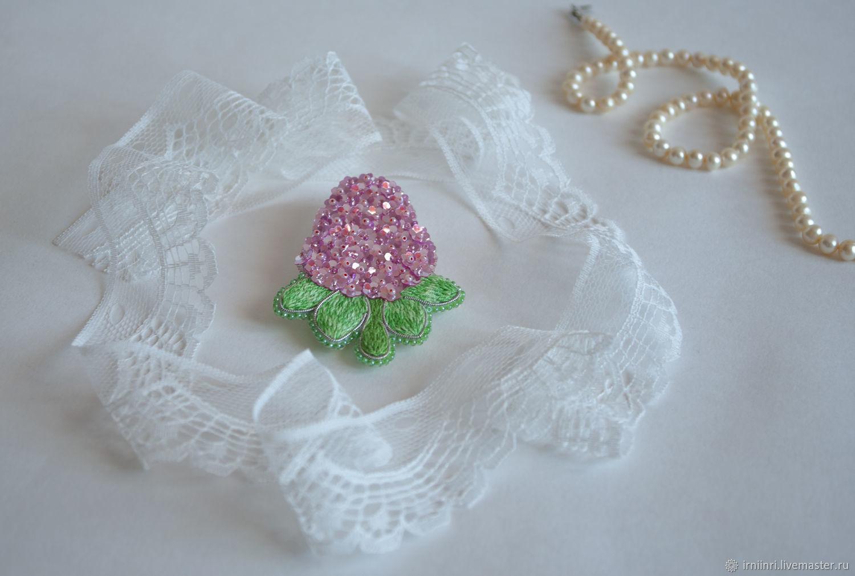 Brooch 'Hydrangea pink', beads, sequins, kanitel, Brooches, Ekaterinburg,  Фото №1