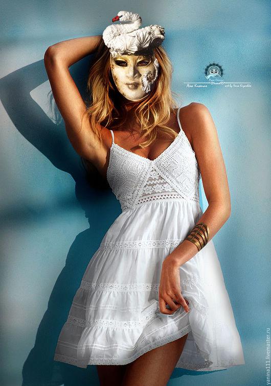 """Интерьерные  маски ручной работы. Ярмарка Мастеров - ручная работа. Купить """"Белая нежность лебедя"""" Маска фантазийная. Handmade. Белый"""