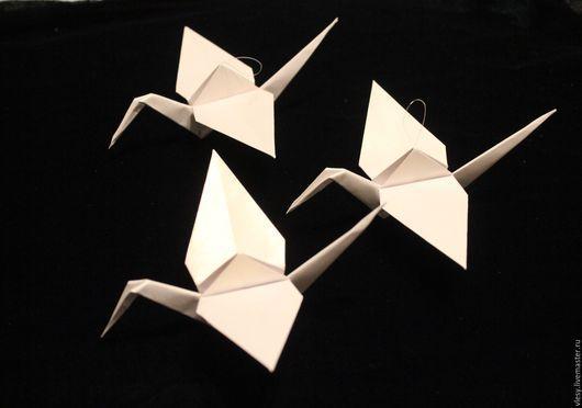 Дизайн интерьеров ручной работы. Ярмарка Мастеров - ручная работа. Купить журавлик-оригами с петелькой. Handmade. Белый, интерьерное украшение