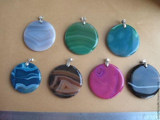 Для украшений ручной работы. Ярмарка Мастеров - ручная работа. Купить Агат круглые кулоны разные цвета с бейлом. Handmade.