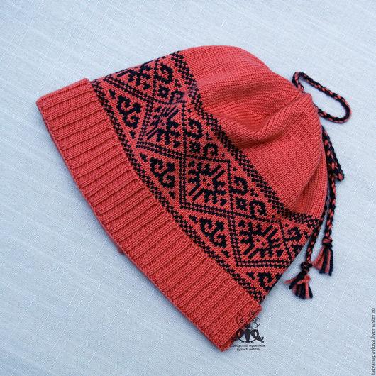 шапка вязаная с помпоном, шапка с орнаментом, шапка по вашим размерам