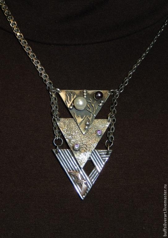 Suspension silver 'Three elements'.Silver,gold,amethysts,pearls, Pendants, Ekaterinburg,  Фото №1