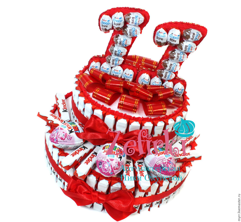 Подарок из конфет и киндеров 99