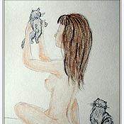 Картины и панно ручной работы. Ярмарка Мастеров - ручная работа Девушка и котята картина пастелью. Handmade.