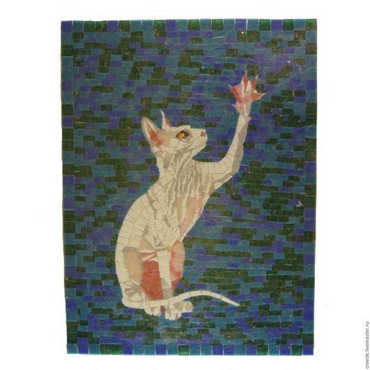 """Животные ручной работы. Ярмарка Мастеров - ручная работа. Купить Мозаичное панно """"Белый Сфинкс"""". Handmade. Комбинированный, кот, Сфинкс"""