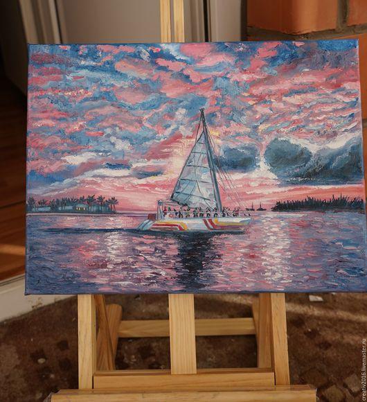 Пейзаж ручной работы. Ярмарка Мастеров - ручная работа. Купить Картина Розовый закат. Handmade. Комбинированный, яхта, пастозная живопись