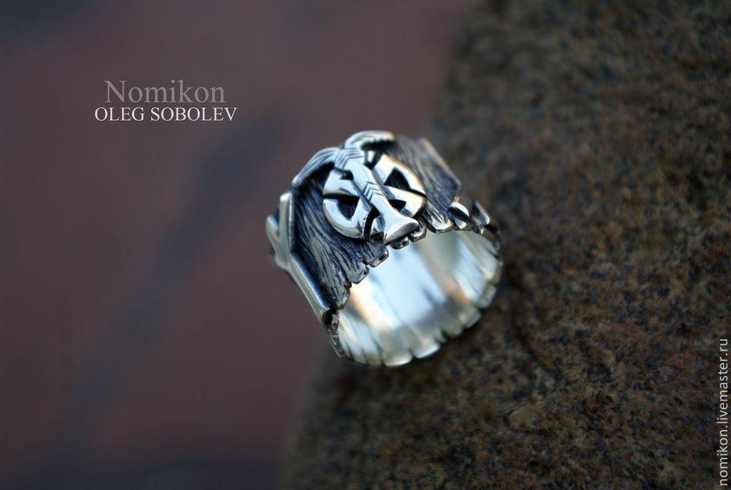 Ring - Irminsul, Sonnenrad and runes Algiz, Rings, St. Petersburg,  Фото №1
