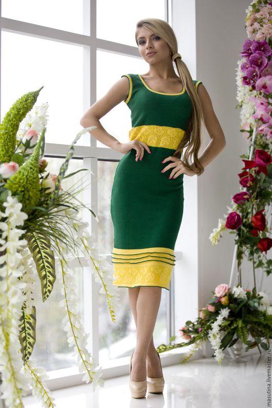 """Платья ручной работы. Ярмарка Мастеров - ручная работа. Купить Платье """"Зеленая планета"""". Handmade. Комбинированный, вязаное платье, вискоза"""