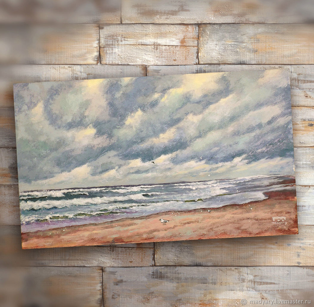 Painting acrylic Cloudy (seascape, grey, beige), Pictures, Smolensk,  Фото №1