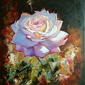 Картины и панно handmade. Livemaster - original item Picture of a rose on a dark background oil with a palette knife. Handmade.