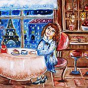 Картины и панно ручной работы. Ярмарка Мастеров - ручная работа В Парижском кафе картина. Handmade.