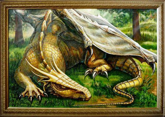 Мифическое существо ручной работы `Дракон`. Ирина. Объемная картина выложена шпатлевкой на оргалите, дополнительно использую песок и бумагу. Картина маслом. Ручная работа!