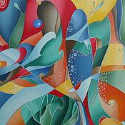 """Картины и панно ручной работы. Ярмарка Мастеров - ручная работа картина маслом 40х50 """"Сказка о рыбке"""". Handmade."""