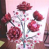Сувениры и подарки ручной работы. Ярмарка Мастеров - ручная работа Плетеный из бисера букет красных роз. Handmade.