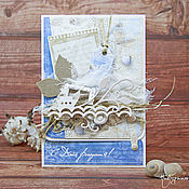 """Открытки ручной работы. Ярмарка Мастеров - ручная работа Морская открытка с днем Рождения """"По волнам"""". Handmade."""