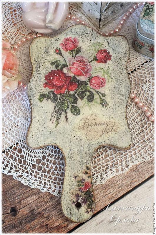 """Зеркала ручной работы. Ярмарка Мастеров - ручная работа. Купить Большое ручное зеркало """"Английские розы"""". Handmade. Розы"""