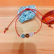 Украшения handmade. Livemaster - original item Braided bracelet with labrador, tiger eye and pink quartz. Handmade.