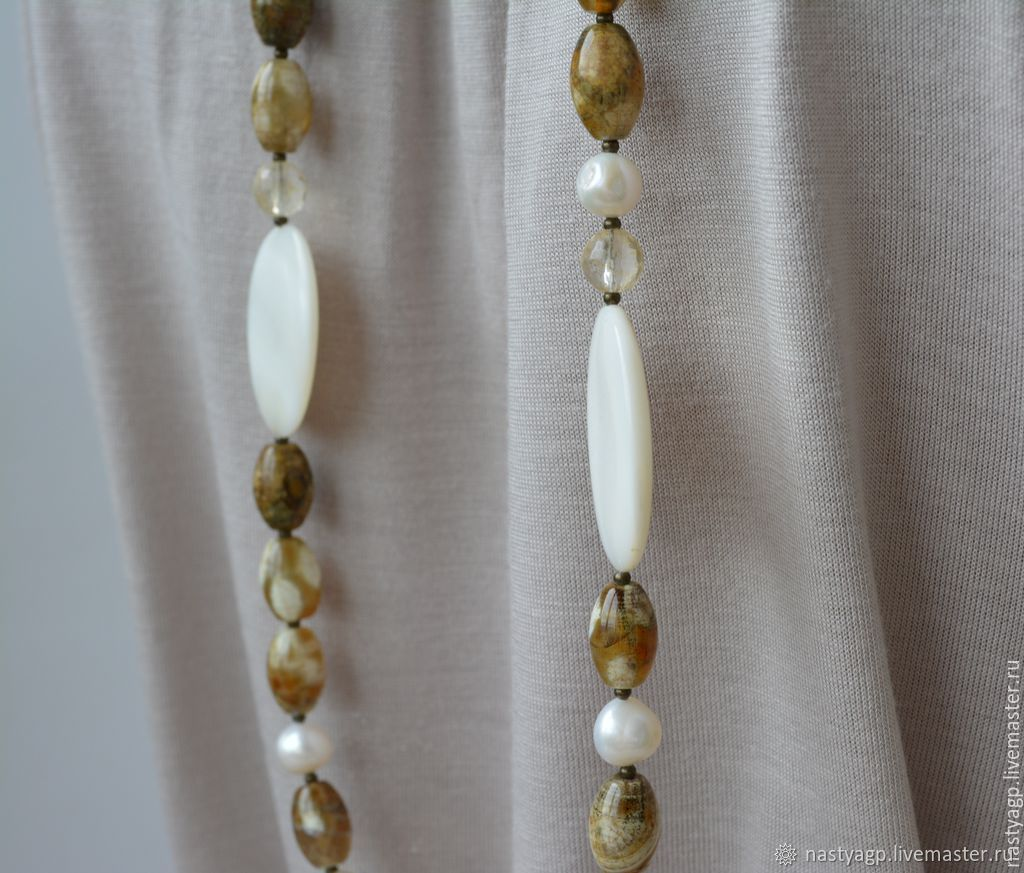 Long necklace of mother of pearl, agate, pearls and citrine Summer Style, Beads2, Moscow,  Фото №1