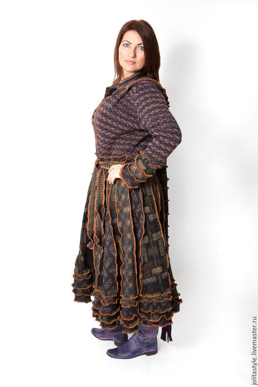 Верхняя одежда ручной работы. Ярмарка Мастеров - ручная работа. Купить Шерстяной свитер пальто. Handmade. Коричневый, на застежке