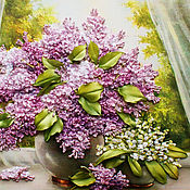 Картины и панно handmade. Livemaster - original item Embroidery lilac and lilies. Handmade.