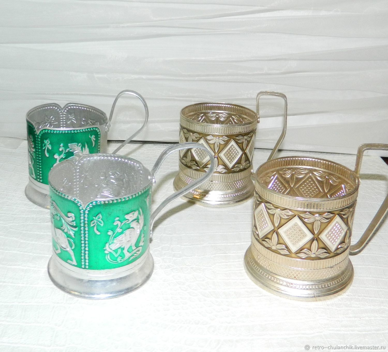 Aluminum Cup holders USSR, Vintage kitchen utensils, Istra,  Фото №1