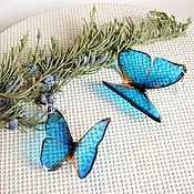 Украшения handmade. Livemaster - original item Transparent Earrings Bright Blue Turquoise Fluttering Butterflies No. №2. Handmade.
