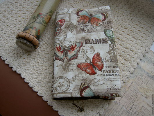 """Обложки ручной работы. Ярмарка Мастеров - ручная работа. Купить Обложка для книги """"Винтажные бабочки"""". Handmade. Комбинированный, бабочки"""