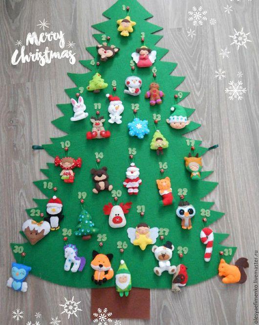 Адвент-календарь Ёлочка. Новогодний декор в детскую. Подарок ручной работы.