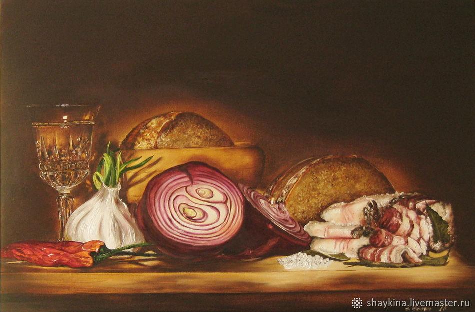 Картина маслом Сельский ужин Натюрморт Хлеб и Сало, Картины, Сыктывкар,  Фото №1