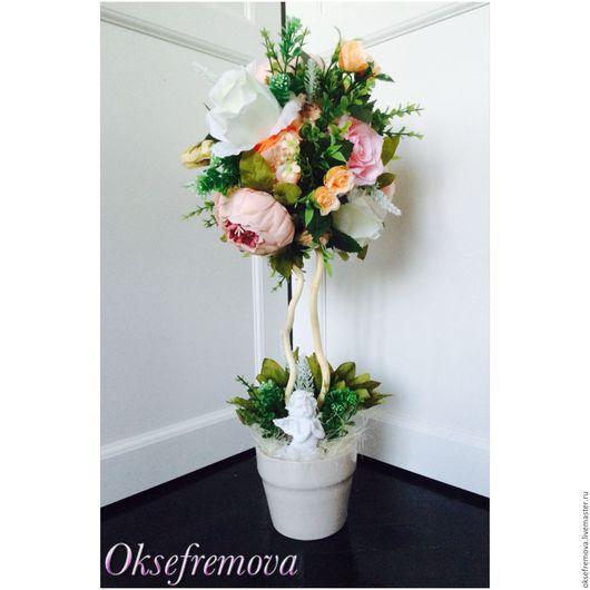 """Топиарии ручной работы. Ярмарка Мастеров - ручная работа. Купить Топиарий """"Нежность"""". Handmade. Бежевый, белый, бледно-розовый, розы"""