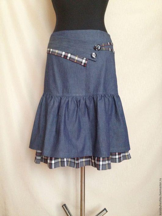 Юбки ручной работы. Ярмарка Мастеров - ручная работа. Купить Джинсовая юбка с оборками. Handmade. Тёмно-синий, джинсовая юбка