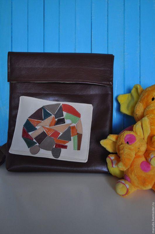 """Рюкзаки ручной работы. Ярмарка Мастеров - ручная работа. Купить Рюкзак """"Мозаичный слон"""" коричневый. Handmade. Коричневый, кожа натуральная"""
