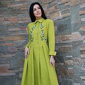 """Одежда handmade. Livemaster - original item Элегантное вышитое платье из валяной шерсти """"Свежесть лайма"""". Handmade."""