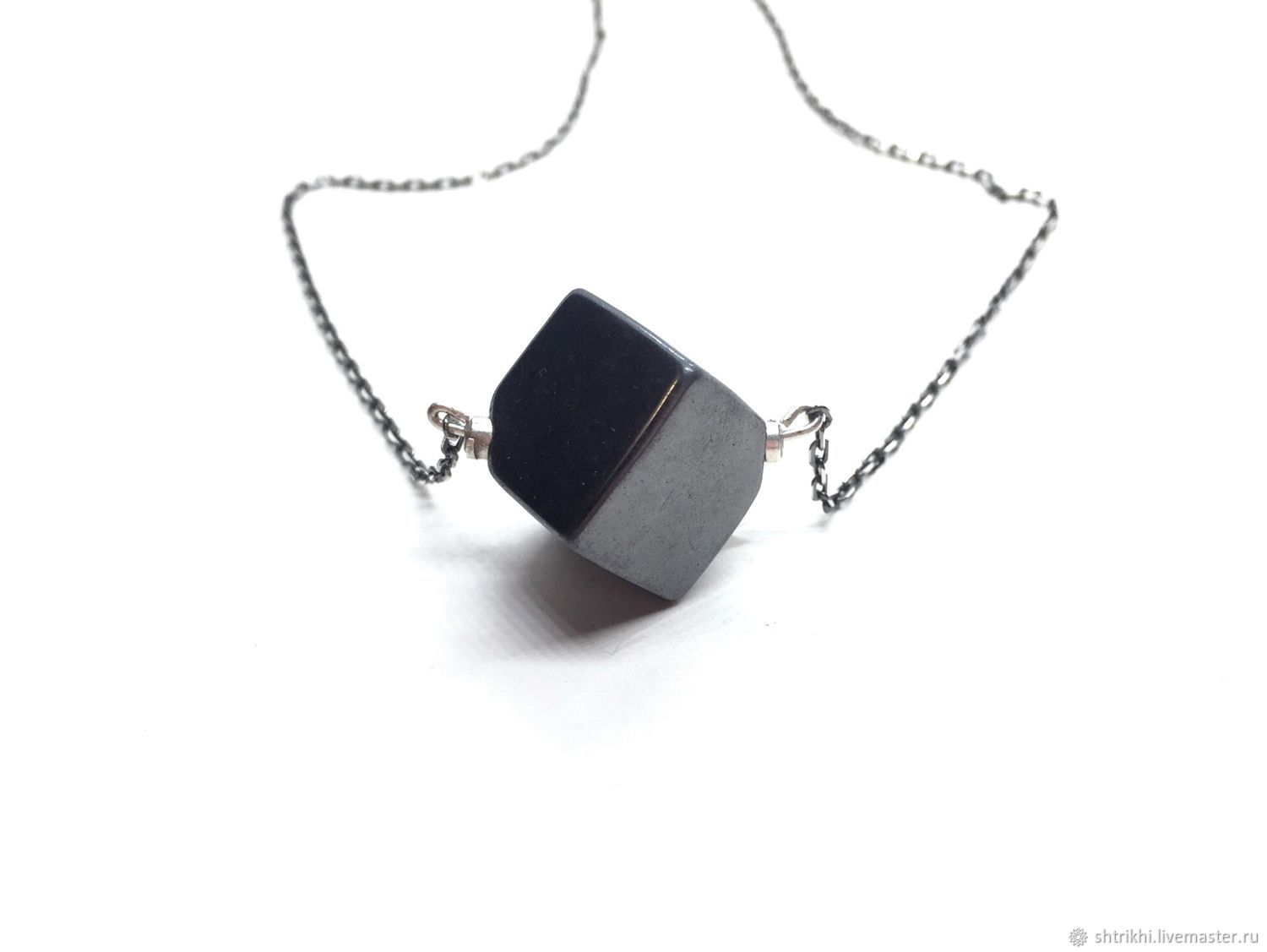 Silver mini necklace Cubism. Natural hematite, silver 925, Necklace, Moscow,  Фото №1