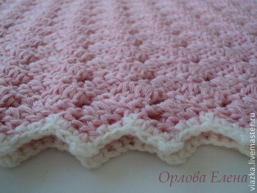 Розовый плед для новорожденного, вязаный плед, детский плед, тёплый плед, плед на выписку, ручная работа, Орлова Елена