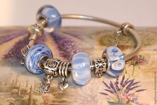 """Бусины пандора ручной работы. Ярмарка Мастеров - ручная работа. Купить """"Нежность - синие"""" набор для браслета. Handmade. Голубой"""