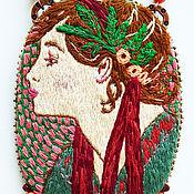 Украшения handmade. Livemaster - original item Laurel pendant based on the works of Alphonse Mucha hand embroidery. Handmade.
