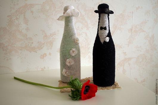 Свадебные аксессуары ручной работы. Ярмарка Мастеров - ручная работа. Купить Одежда на свадебные бутылки. Handmade. Чёрно-белый, Праздник