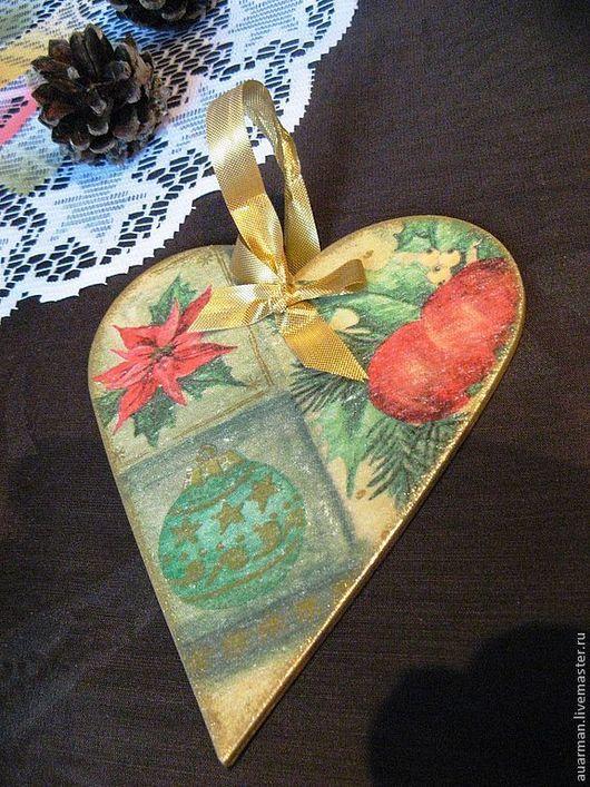Подвески ручной работы. Ярмарка Мастеров - ручная работа. Купить Новогодние подвески - панно сердце Елочные украшения декупаж Новый год. Handmade.