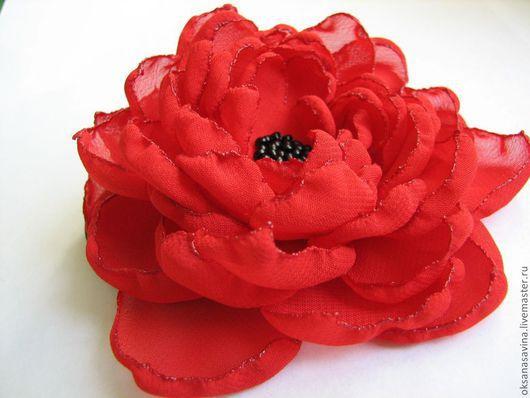 """Броши ручной работы. Ярмарка Мастеров - ручная работа. Купить Брошь-заколка """"Роза"""". Handmade. Ярко-красный, брошь цветок"""
